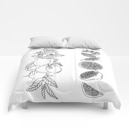 Citrus Branch of Lemons and Slices of Fruit Comforters