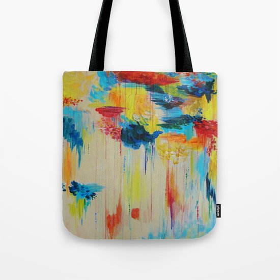 VANCOUVER RAIN - Stunning Rainbow Colorful Bold bright Rain Clouds Stormy Day Wow Abstract Painting Tote Bag