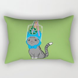 Grey Tabby Wears Recycled Plastic Hat Rectangular Pillow