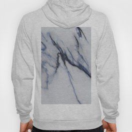 White Marble with Black and Blue Veins Hoody
