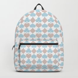 Playing Cards Pattern Blue Lilac on White Backpack