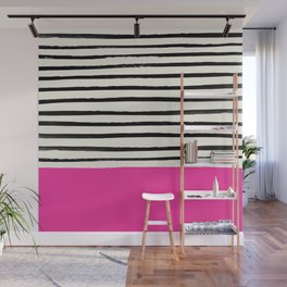 Bright Rose Pink x Stripes Wall Mural