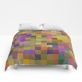 geometric square pixel pattern abstract in yellow green purple Comforters