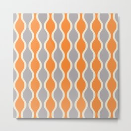 Classic Retro Ogee Pattern 852 Orange and Gray Metal Print
