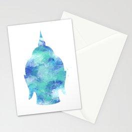 Buddha Head Watercolor Art Print Stationery Cards