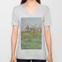 """Claude Monet """"Printemps à Giverny, effet d'après-midi"""" Unisex V-Neck"""