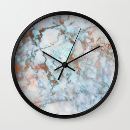 Rose Marble with Rose Gold Veins and Blue-Green Tones Wall Clock