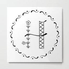 H - decorative monogram. Metal Print