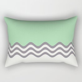 Pastel Green, Gray & Linen White Wavy Stripes 2 Pairs to Coloro 2020 Color of the Year Neo Mint Rectangular Pillow