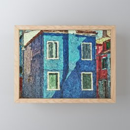 Burano blue house Framed Mini Art Print