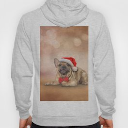 Drawing dog French Bulldog in red hat of Santa Claus Hoody