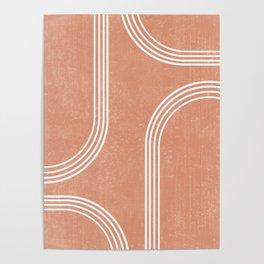 Mid Century Modern 2 - Geometrical Abstract - Minimal Print - Terracotta Abstract - Burnt Sienna Poster