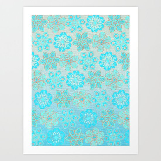 Aqua & Grey Floral Tropical Pattern Art Print