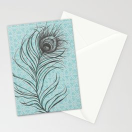 Turquoise Feather. Stationery Cards