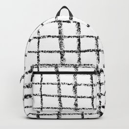 Black and white grid abstract minimal gridded pattern gifts basic nursery home decor Backpack