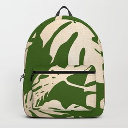 Palm Leaves White Gold Sands on Jungle Green Backpack