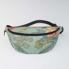 Blue Red Carnation Yellow Leaf Fabric Fanny Pack