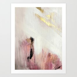 Sunrise [2]: a bright, colorful abstract piece in pink, gold, black,and white Art Print