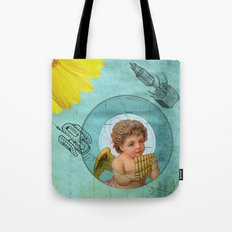 Angel playing music in space Tote Bag
