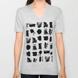 Modern black white artistic watercolor brushstrokes Unisex V-Neck