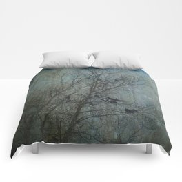 Blackbird Convention on a Snowy Day Comforters