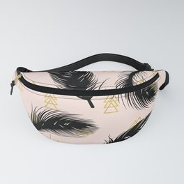 Black feathers Fanny Pack