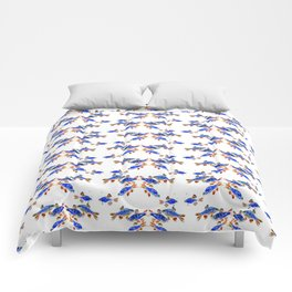 Pearl Danio Fish, Blue red aquatic design decor Comforters