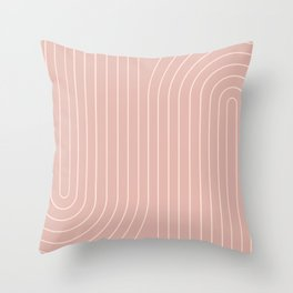 Minimal Line Curvature - Vintage Pink Throw Pillow