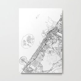 Dubai White Map Metal Print