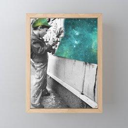 KID PAINTING THE UNIVERSE Framed Mini Art Print