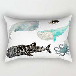 Whales and friends Rectangular Pillow