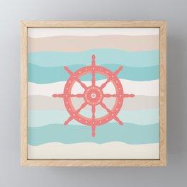 AFE Coral Helm Wheel, Nautical Art Framed Mini Art Print