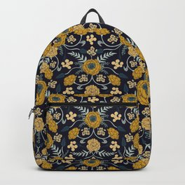 Navy Blue, Turquoise, Cream & Mustard Yellow Dark Floral Pattern Backpack