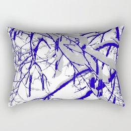 Blue Snow Branches Rectangular Pillow