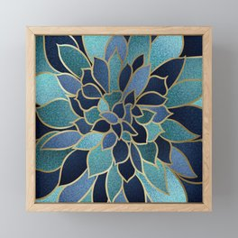 Festive, Floral Prints, Navy Blue, Teal and Gold Framed Mini Art Print