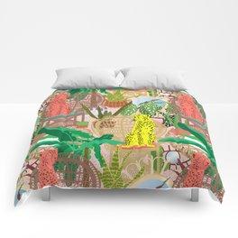 Maximalist Rattan Cheetah Chairs + Mirrors in Pink Terrazzo Comforters