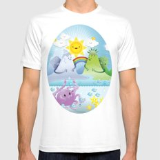 Happy land MEDIUM White Mens Fitted Tee