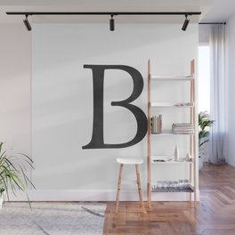 Letter B Initial Monogram Black and White Wall Mural
