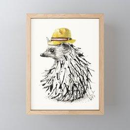 Hedgehog With Straw Hat Framed Mini Art Print