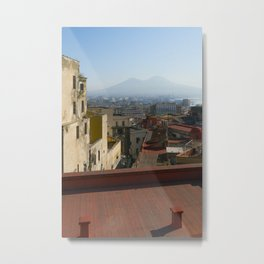 vesuvius from rooftops in streets of Naples Metal Print