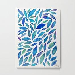 Diamond Leaves – Blue Palette Metal Print