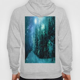 Galaxy Winter Forest Blue Teal Hoody