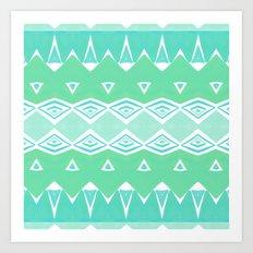 Geo Triangle Sea Green 2 Art Print