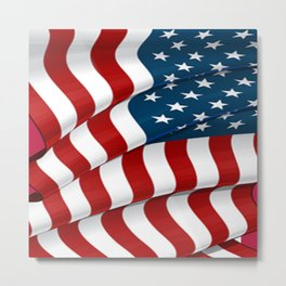 WAVY AMERICAN FLAG JULY 4TH ART Metal Print