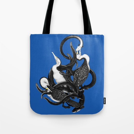 New Zealand pied Shags and Eels Tote Bag