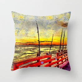Fishing Rods at Sunset Painterly Style Throw Pillow