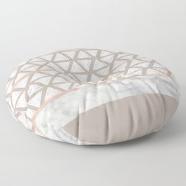 Marble Geometric Sand Beige Triangle Pattern Taupe Floor Pillow