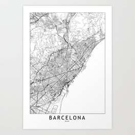 Barcelona White Map Art Print