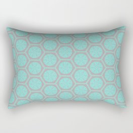 Hexagonal Dreams - Grey & Turquoise Rectangular Pillow