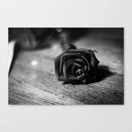 Romantic Black and White Rose Canvas Print